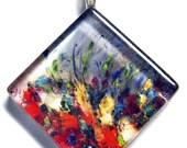 Beautiful Floral Glass Tile Pendant