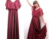 RESERVED for Brianne 1970s Maxi Dress in Burgundy with Translucent Chiffon Top with Long Skirt
