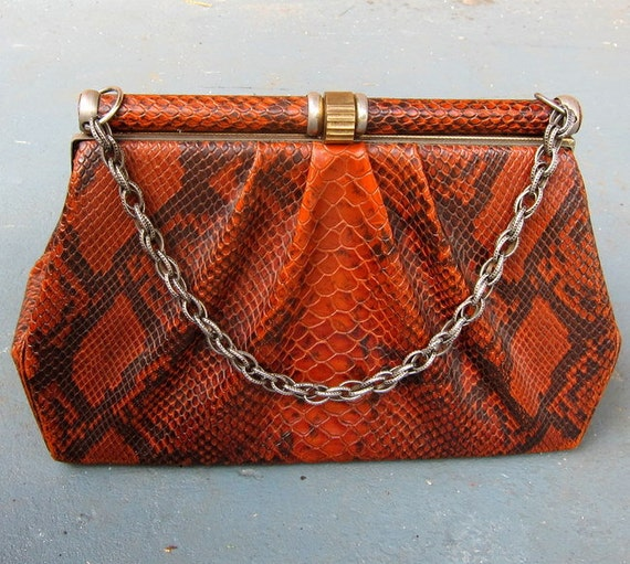 Vintage Snakeskin Purse with Chain Handle - Faux Python 1970s