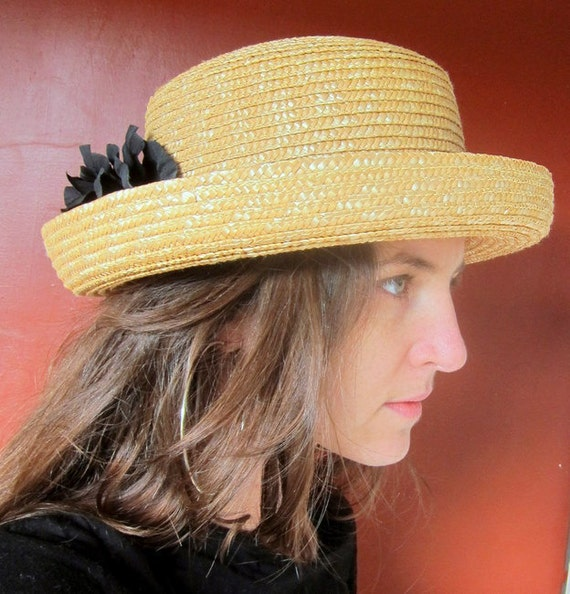 Vintage Straw Hat with Black Band and Black Flower