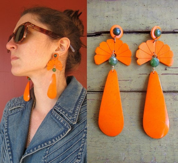 1980s Orange Earrings GIANT Dangles with Jade Beads