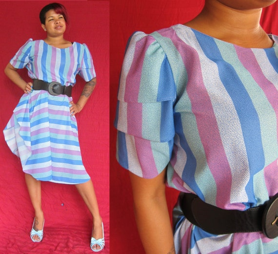 SALE 1970s Striped Dress in Blue with Ruffled Sleeves