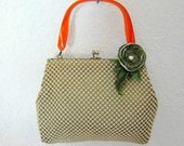Rare Whiting and Davis Metal Mesh Clutch Handbag with Lucite Handle Circa 40s to 60s