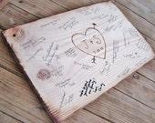 Rustic Wedding Guest Book Alternative, Wedding sign, Bridal Shower, Anniversary Party - wood burned heart w bride & groom initials, date