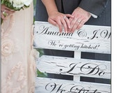 """Directional Wedding Sign, I Do, We Did, Bride & Groom names and """"We're getting hitched"""" - 3 signs, 36"""" stake"""