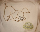 Hand Embroidered Onesie - Puppy and Turtle