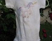 Hand Embroidered Unicorn Onesie