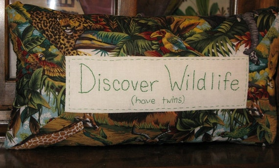 Sale - Discover Wildlife ( have twins) - Hand Embroidered Pillow
