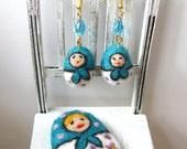 Matryoshka set (brooch and earrings)