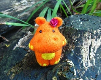 Orange needle felted hippo