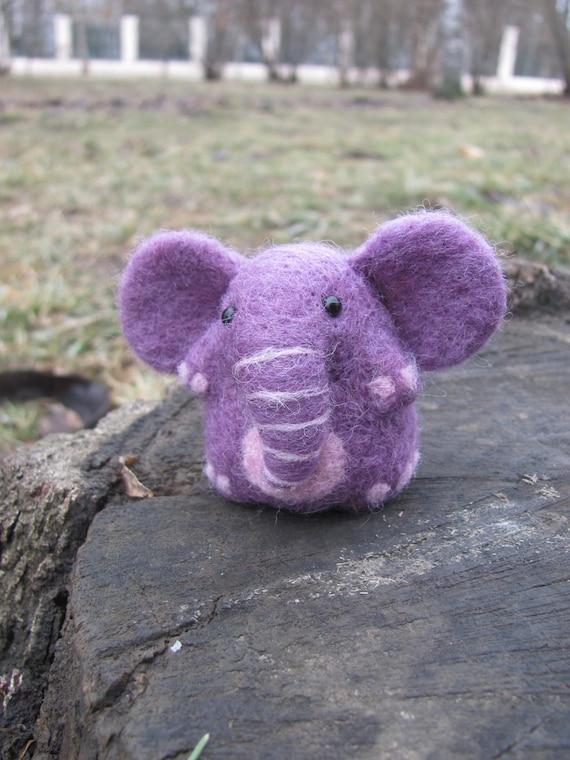 Purple needle felted elephant