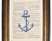 Vintage DICTIONARY Art Print Blue Anchor