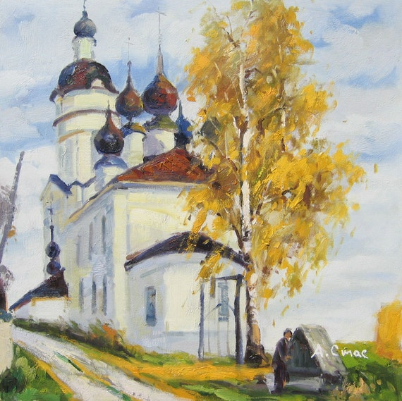 """Near well, original oil painting by Andrey Stas 20x20"""""""
