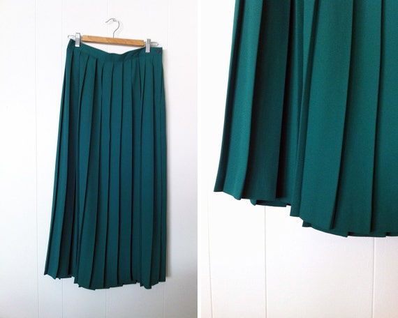 SALE Vintage 80s Teal Jade Box Pleated Midi Skirt L/XL