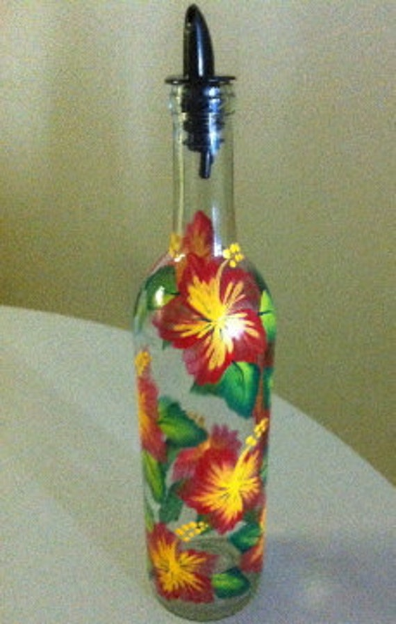 Oil Bottle with Hand Painted Red Hibiscus