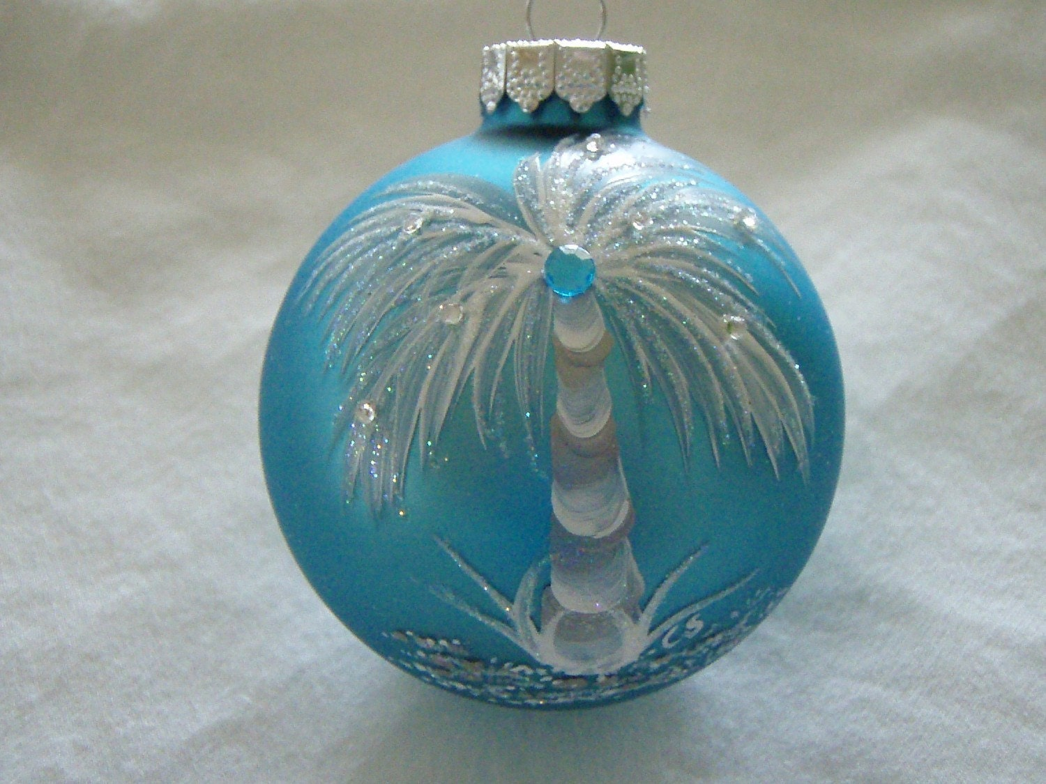 Tropical hand painted turquoise glass ornament for Christmas glass painting