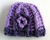 Lovely Lavender-Violet Crochet Beanie