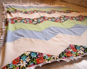 Chevron Inspired, Organic & Vintage. Baby, Toddler, All Ages Quilt. Ready to Ship or Custom Colours Available.
