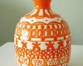 Orange Bud Vase with Lace Detail