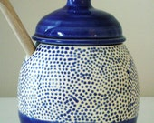 Blue and White Speckled Honey Pot
