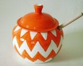 Orange and White Chevron Honey Pot