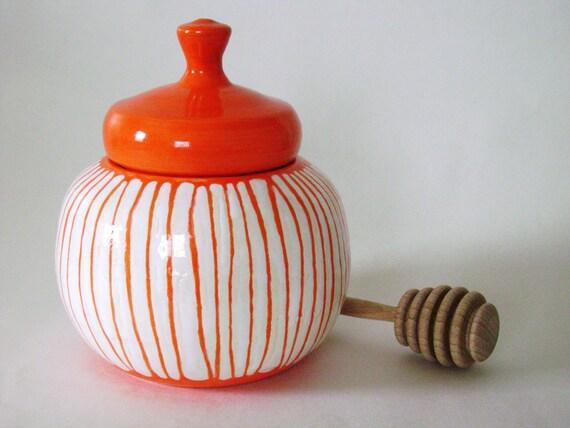 Orange and White Striped honey Pot