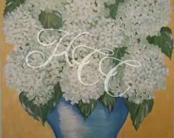 "Original Oil Painting - ""White Hydrangeas"""