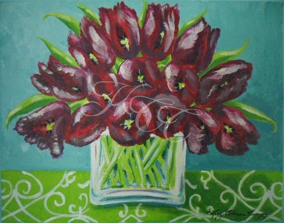 """Original Painting - """"Tulips in Teal Room"""""""