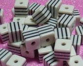7mm White Cube Beads