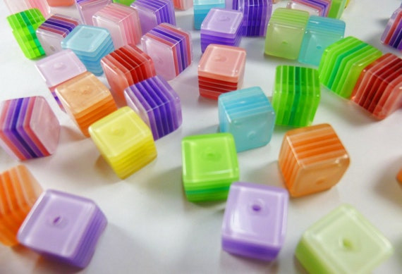 Colorful Resin Cube Beads