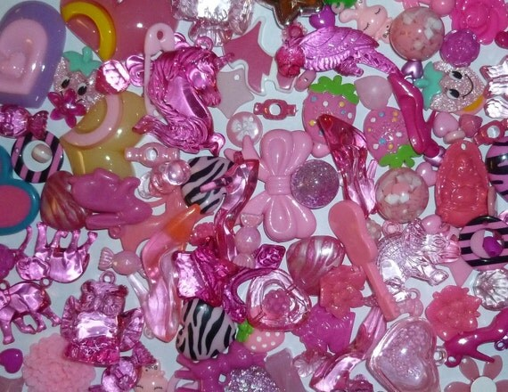 Pink Mega Mix Value Pack of Acrylic Beads, Charms and Cabochons