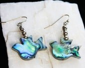 Sterling Silver and Abalone Paua Dove bird shape French Wire Earrings 925 Peace Shell