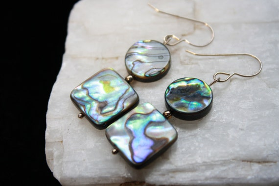 Sterling Silver French Wire with Abalone Earrings Natural Ocean Shell