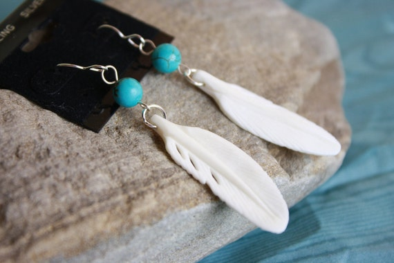 REDUCED White Feather Earrings with turquoise ball and sterling silver french wire bone feather