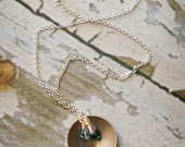 Birthstone Necklace - Vintage Brass Circle - Mother's Necklace