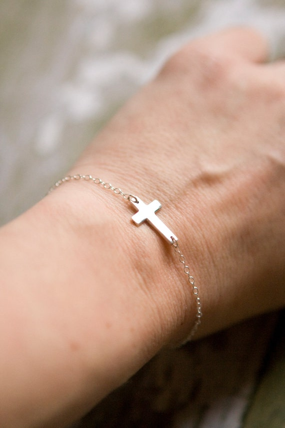 Sideways Cross Bracelet - Silver Cross - Sterling Silver - Simple Everyday Bracelet- Mother's Day Gift