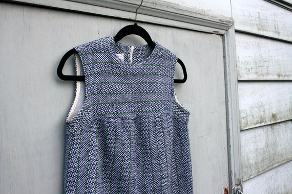 Vintage 1960's blue and white tweed dress