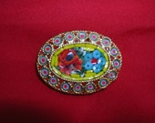 """Clearance  1970s80s Vintage Micro Mosaic MilleFiori Brooch  Red Rose Blue Daisy  """"Treasury Item""""  """"Price Reduced & Shop Coupon"""""""