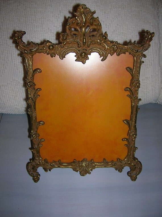 """Antique Victorian Gold Gilt Metal Picture Frame with Glass  """"Shop Coupon"""""""
