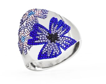 Blossom Silver Clasp Bangle With Flowery Swarovski Crystals