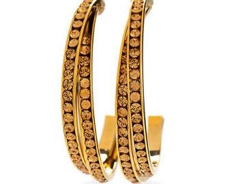 Golden Light Colorado Toned Elegant Earrings WIth Swarovski Crystals