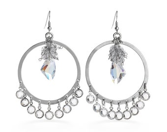 Single Iridescent Jewel Enclosed in Smoke Beads & Encased In Silver Dangling Hoop Earrings Outfitted With Swarovski Crystals