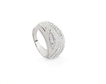 Elegant Silver & White Opal Toned  Cocktail Ring Encrusted With Swarovski Crystals