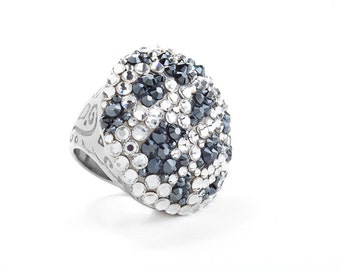 Intricately Engraved Hematite Toned Cocktail Ring Encrusted With Swarovski Crystals