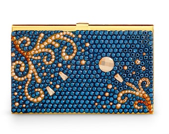 Aurora Bloom Elegant Business Card Case Encrusted With Swarovski Crystals