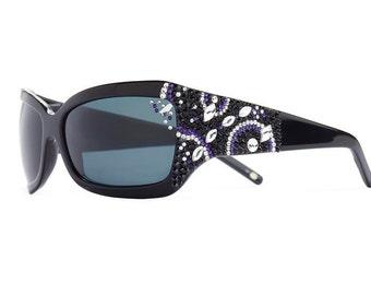 Indigo Cosmo Oversized Sunglasses With Dark Lenses And Purple Velvet Swarovski Crystals