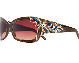Gorgeous Smoked Topaz Floral Oversized Sunglasses With Gradient Shades And Flower Pattern Swarovski Crystals