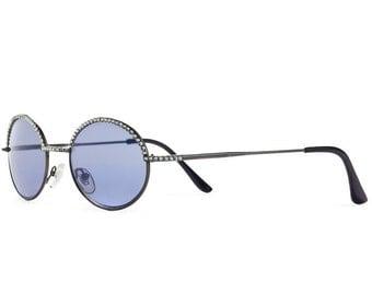 Simple Tea-Shade Sunglasses With Bluish Purple Tints And Dark Diamond Swarovski Crystals