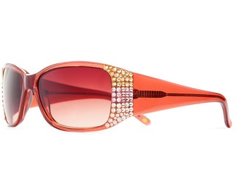Simple Custom Side Designer Sunglasses With Brown Gradient Shades And Pastel Colored Swarovski Crystals