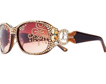 Glamorous Copper Toned Gradient Oversized Sunglasses Encrusted With Swarovski Crystals